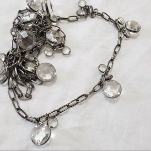 🎁 Dark Silver Crystal Gems Doubling ChainNecklace